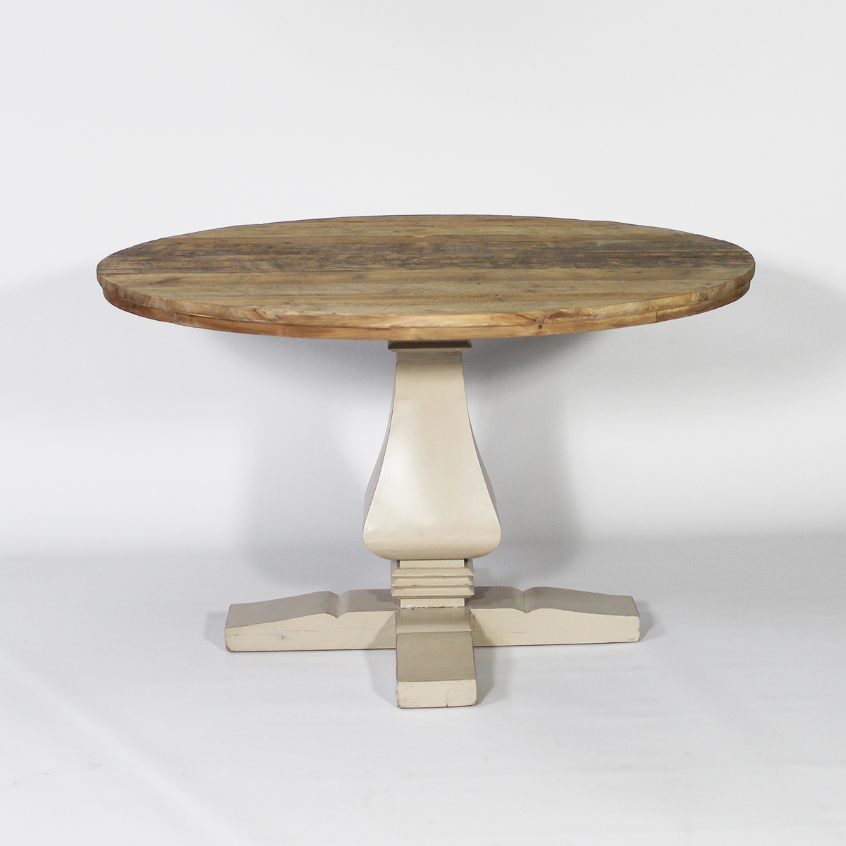 Table ronde baroque pied central en bois taupe taupe ebay for Table ronde bois pied central